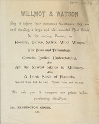 Advert for Wilmot & Watson, clothiers